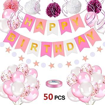 Amazon.com: Konsait – Juego de globos de confeti rosa para ...