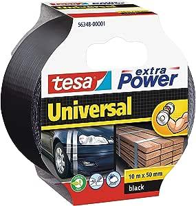 tesa Extra Power Universal Fabric tape (weerbestendig reparatietape, 10 m x 50 mm), zwart, 932575