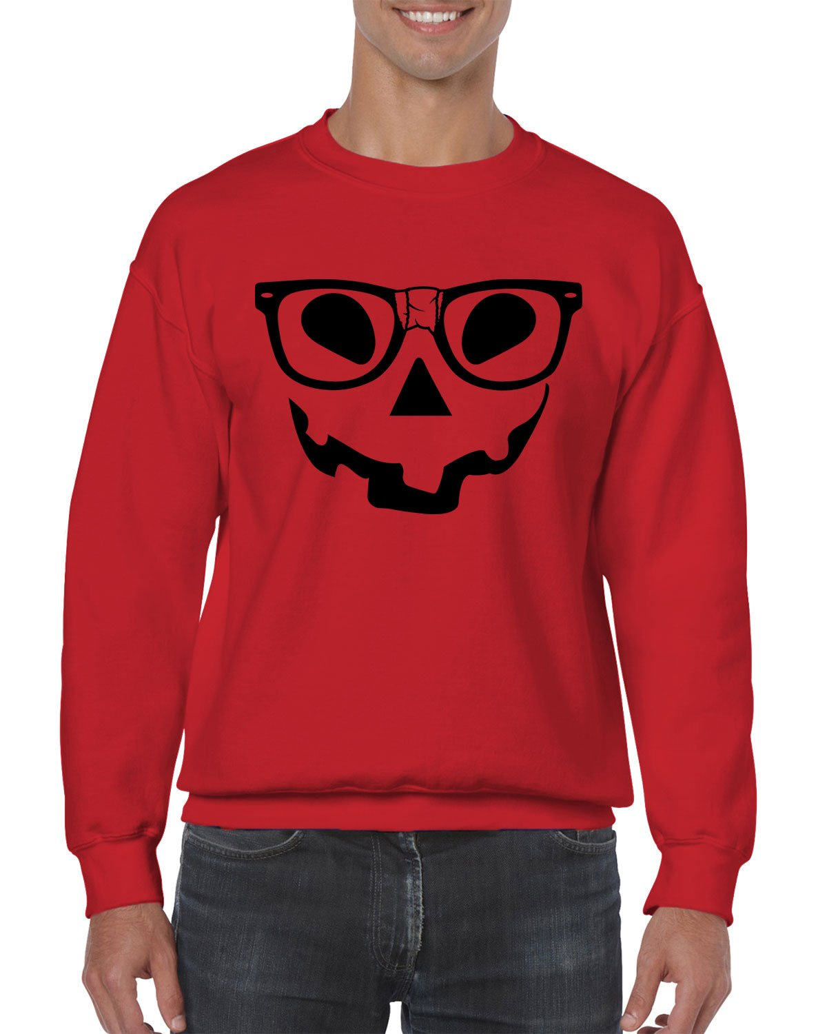 Pumpkin Face With Nerdy Glasses Crewneck Sweater, SpiritForged Apparel, Red Small