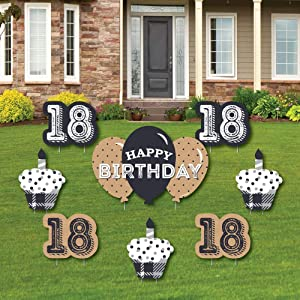 Big Dot of Happiness 18th Milestone Birthday - Time to Adult - Yard Sign and Outdoor Lawn Decorations - Happy Birthday Party Yard Signs - Set of 8