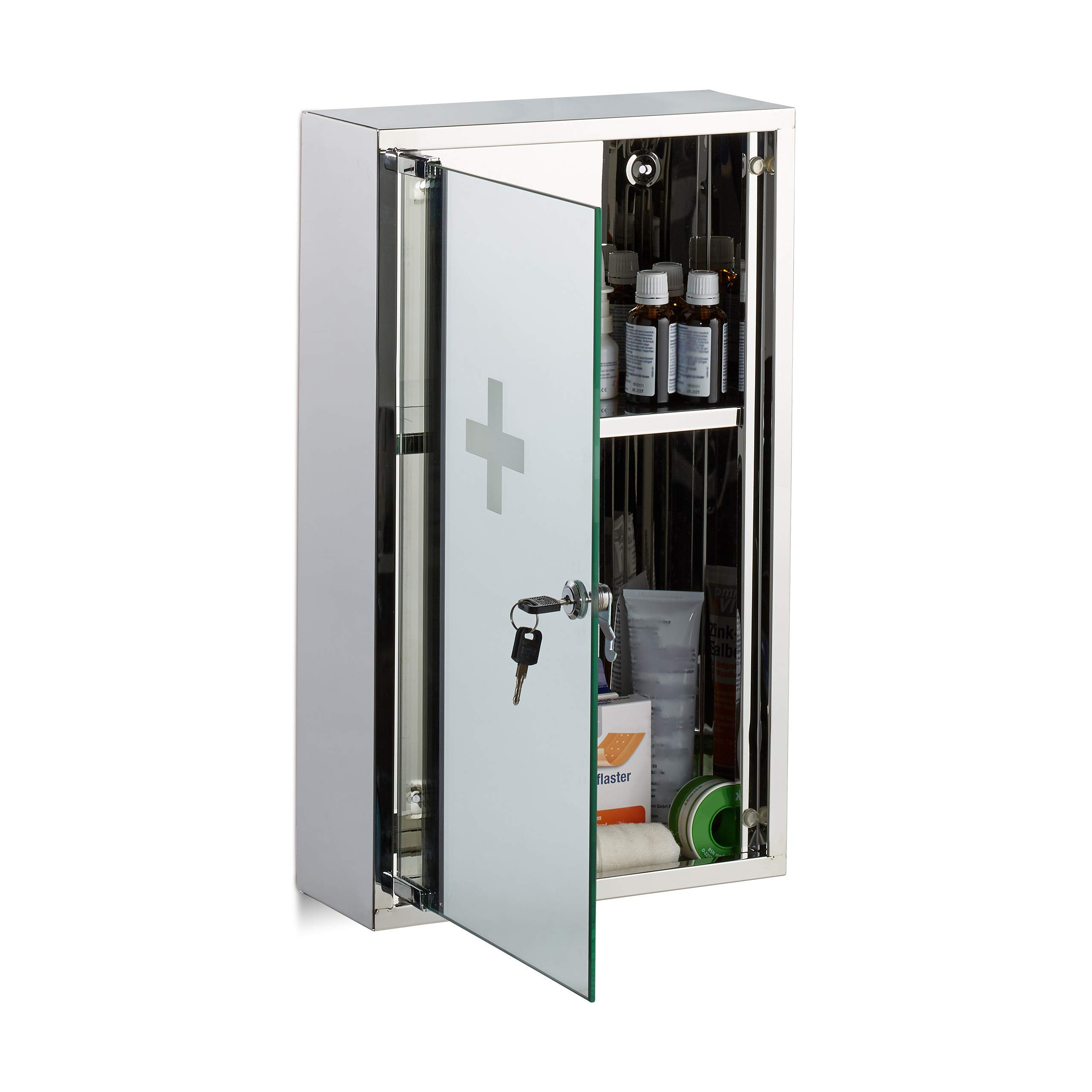 Relaxdays Stainless Steel Medicine Cabinet, Lockable Mirror Door, 2 Compartments, Home Pharmacy, Silver, H x W x D: app. 50 x 30 x 11 cm