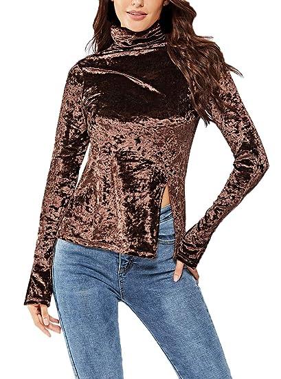 5bfb10b94e499 Femme Top Printemps Automne Uni Manche T-Shirts Elégante Décontracté Fashion  Chemisiers Fourcher Manches Longues