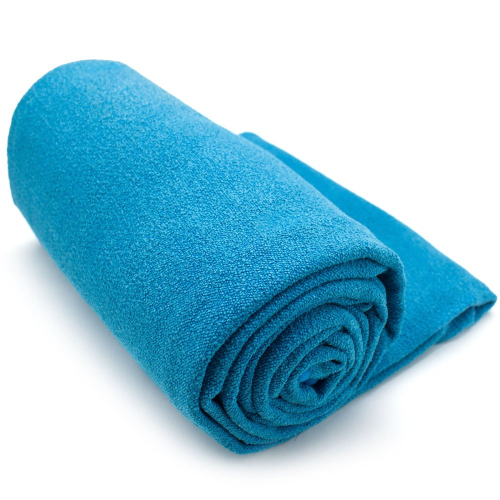 Crown Sporting Goods Non-Slip Microfiber Hot Yoga Towel with Carry Bag (Blue)