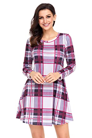 34ad58649179 Plaid Tartan Gingham Check Checkered Pocket Side Mini A-Line Babydoll Swing  Dress Tunic Top