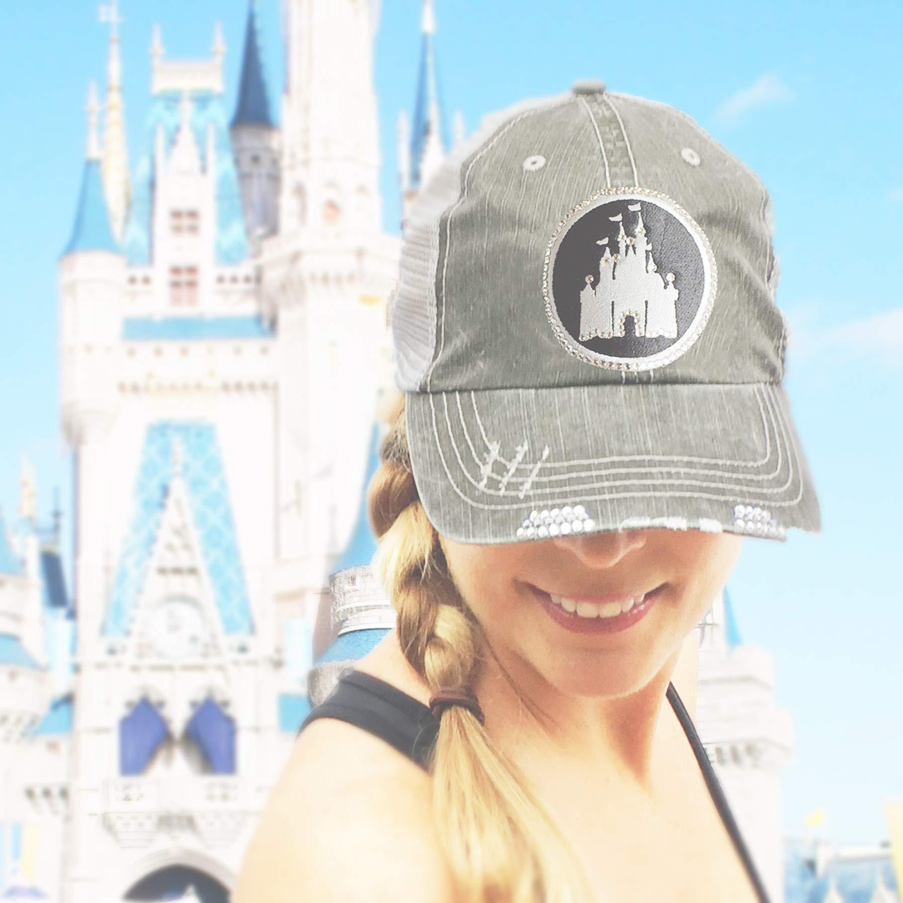 Disney High Ponytail Hat Bedazzled Mesh Baseball Cap Swarovski Crystal Bling Gray by Elivata (Image #3)