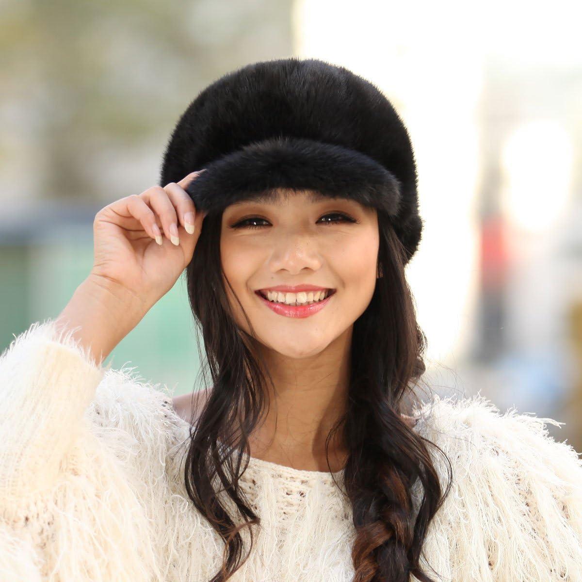 URSFUR Womens Mink Fur Riding Hats Multicolors