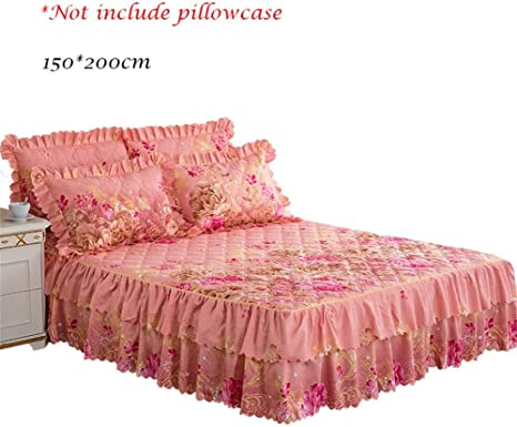 Floral Bed Skirt Lace Ruffle Princess Bedspread Bedding Pillowcase All Siz NEW