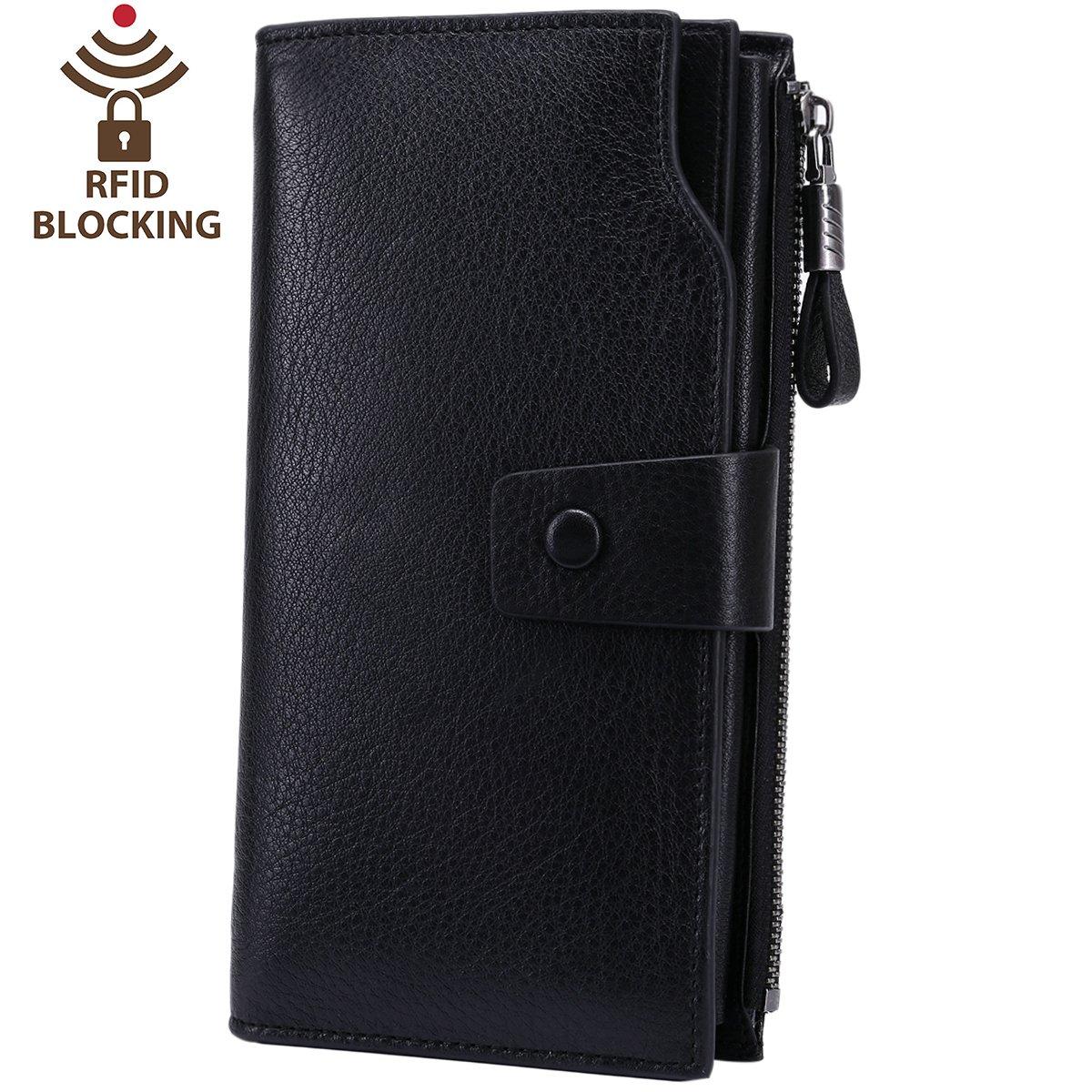 Itslife Women's RFID Blocking Large Capacity Luxury Wax Genuine Leather Cluth Wallet Card Holder Ladies Purse (Natural Black RFID BLOCKING)