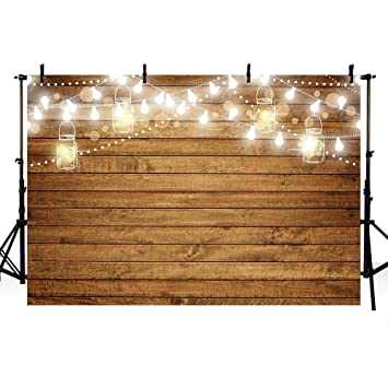 MEHOFOTO 8x6ft Photography Backdrops Props Shining Bulbs Love Heart Pattern Bottles Wood Birthday Wedding Party Decoration Photo Studio Booth ...