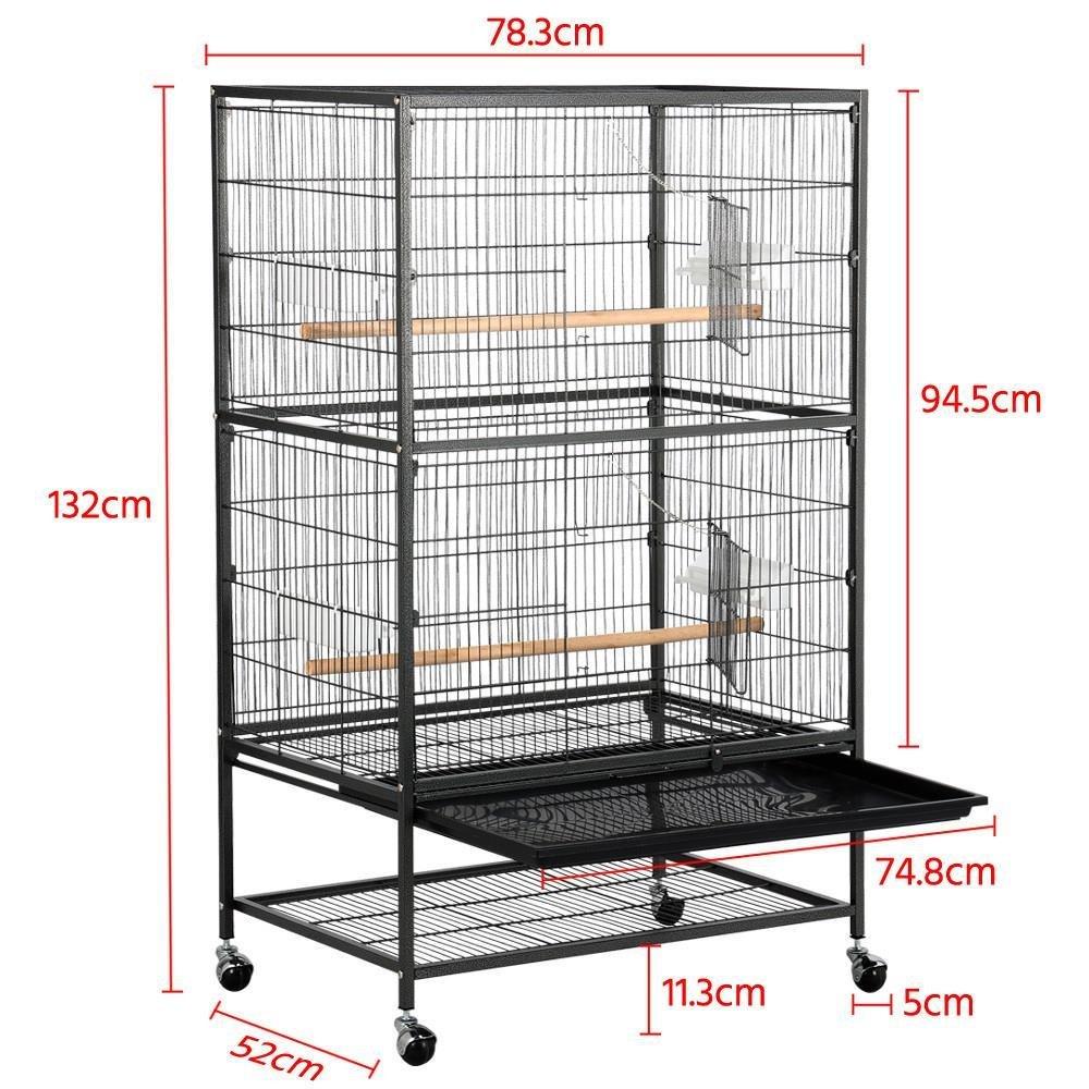 Yaheetech Jaula Grande Jaula para Pájaros Jaula para Mascota con Ruedas 52 cm x 79 cm x 131 cm: Amazon.es: Productos para mascotas