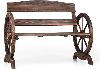 blumfeldt ammergau banc de jardin bois de sapin protection contre les intemperies aspect ancien 108 x 65 x 86 cm marron fonce