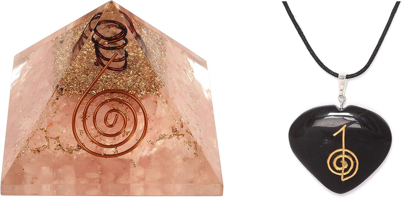 Energy Generator - Pirámide de cuarzo rosa y turmalina negra con colgante de corazón para protección y curación, meditación con colgante Nacklace