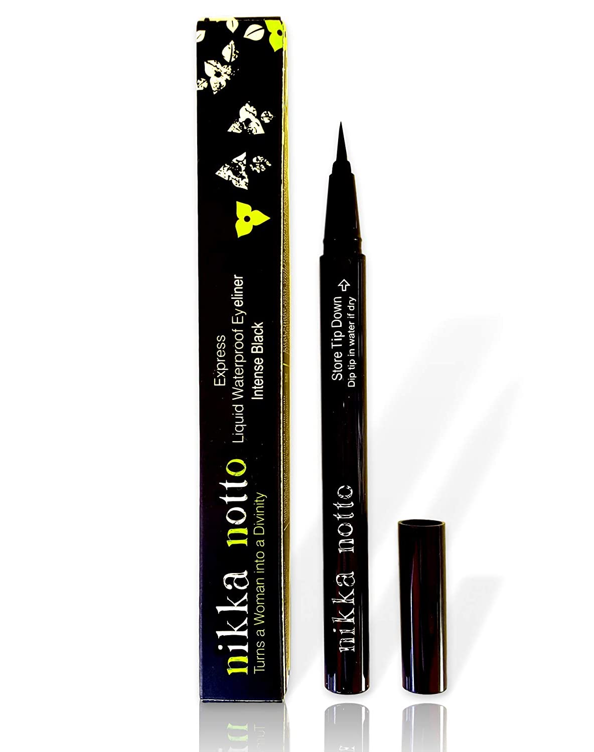 "Nikka Notto Liquid Eyeliner Waterproof Black, ""Precise Wear"" All Day Nikka Notto Cosmetics Div-EyeL-Liq-WaterP-Black"