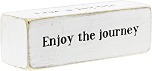 """Four-Sided Inspirational Wood Block Sign, 6"""" ('Enjoy The Journey')"""