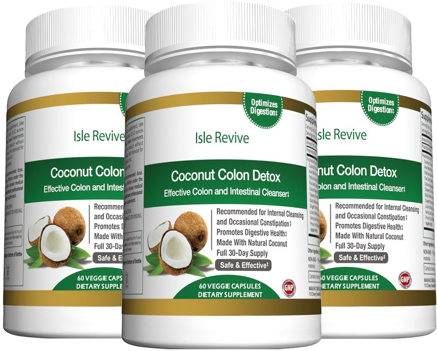 Coconut Colon Detox Cleanse for Weight Loss - with Aloe Psyllium Husk Flax Seed Licorice Root Ginger Best All Natural Healthy Digestive Laxative Constipation Cleanser - 3 Bottles 60 Capsules