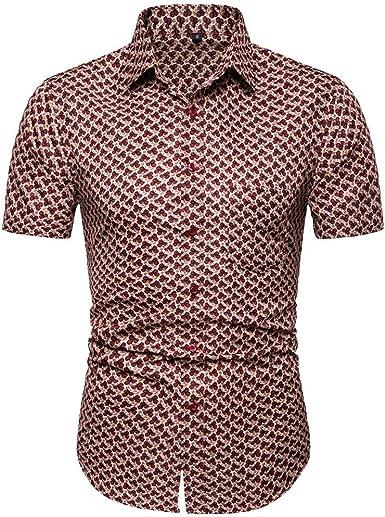 Innerternet-Camisa de Hombre, Camisa de Solapa de Manga Corta Estampada Slim Fit de Solapa para Hombre(Azul/marrón, S-XXL): Amazon.es: Ropa y accesorios
