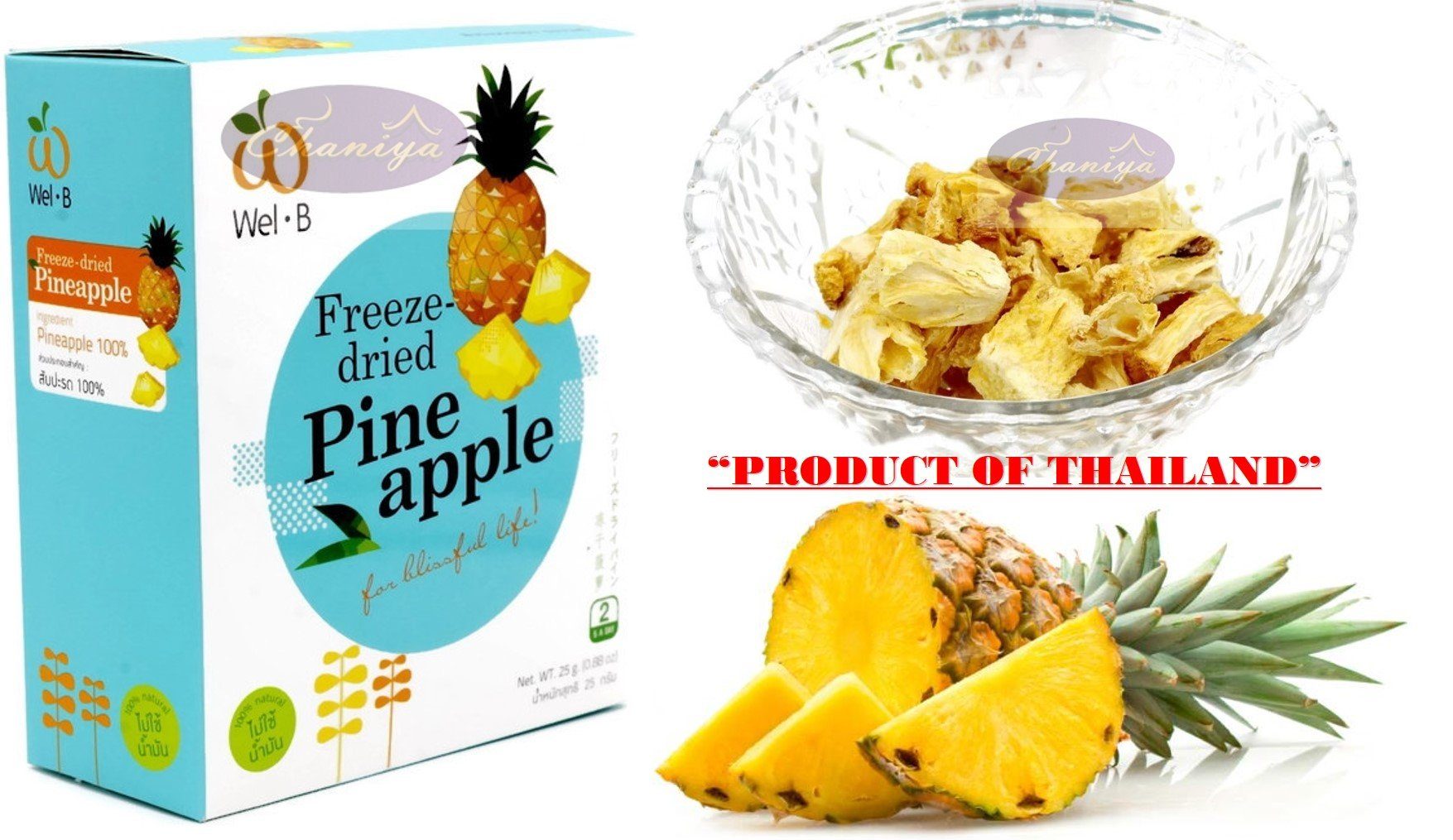 Crispy Freeze dried Fruit Pineapple Special and Unique Fruit Healthy Snack 100% all Natural Oil-Free 1 Box 25 g. (0.88 Oz)