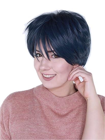 Prettyland C963 - Peluca de peluca corta con peluca salvaje azul oscuro con flecos grises