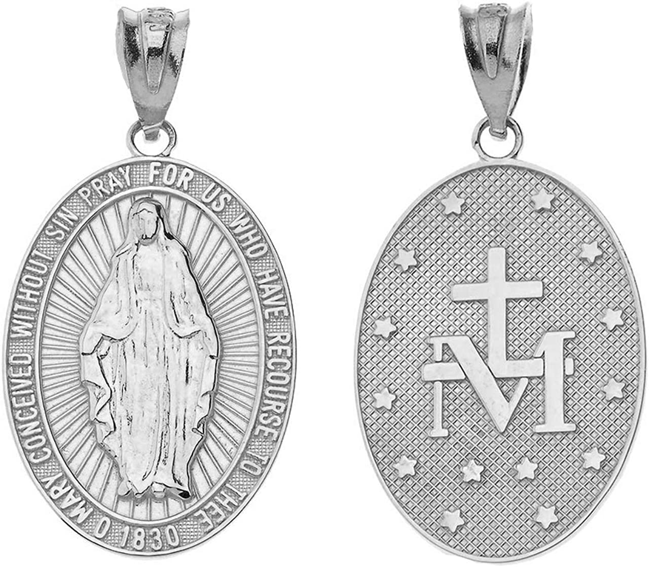 1 1//2in Oval 0.925 Sterling Silver Miraculous Virgin Mary Medal Pendant Necklace