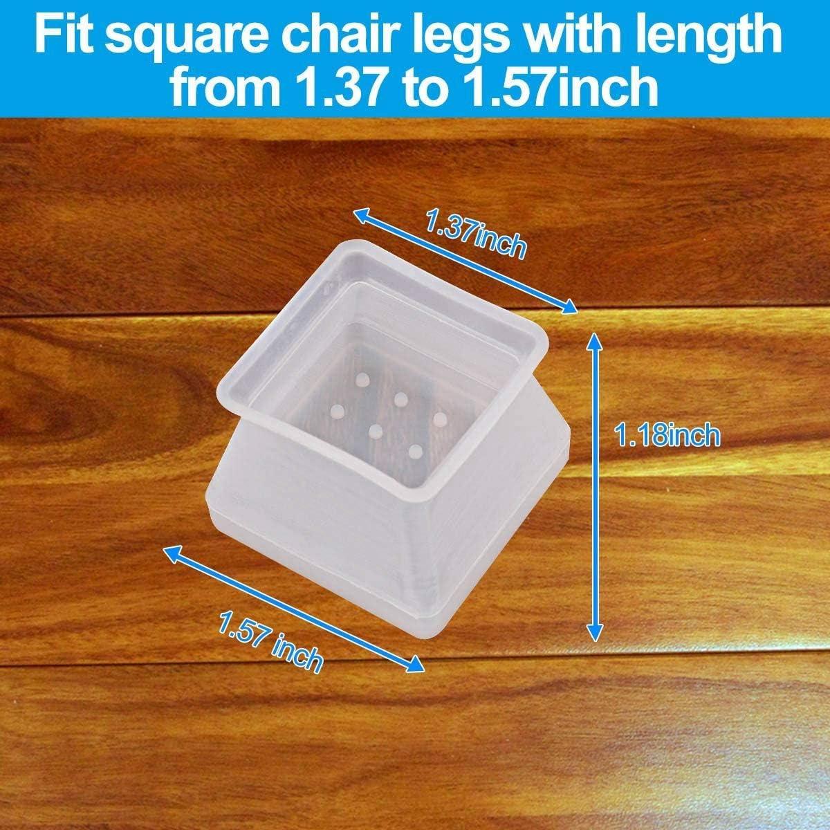 cherrypop 32 pezzi copertura in silicone per mobili protegge da graffi e rumore Piedini quadrati in silicone per gambe della sedia