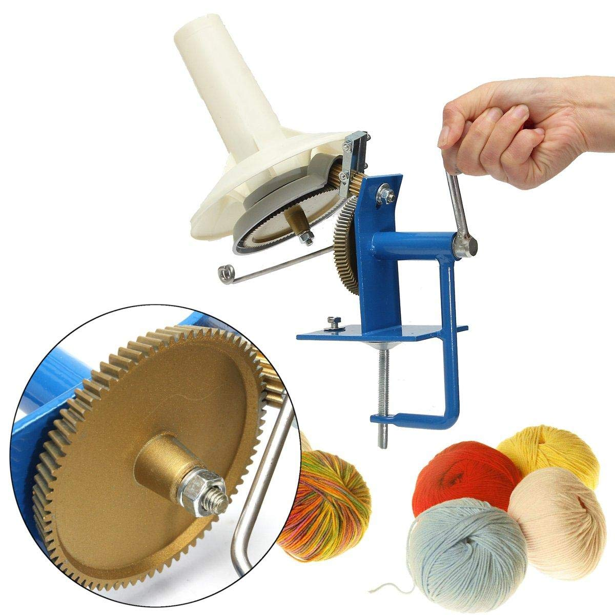 Metal Large Yarn Fiber Wool String Ball Winder Hand Operated Needlecraft Tool