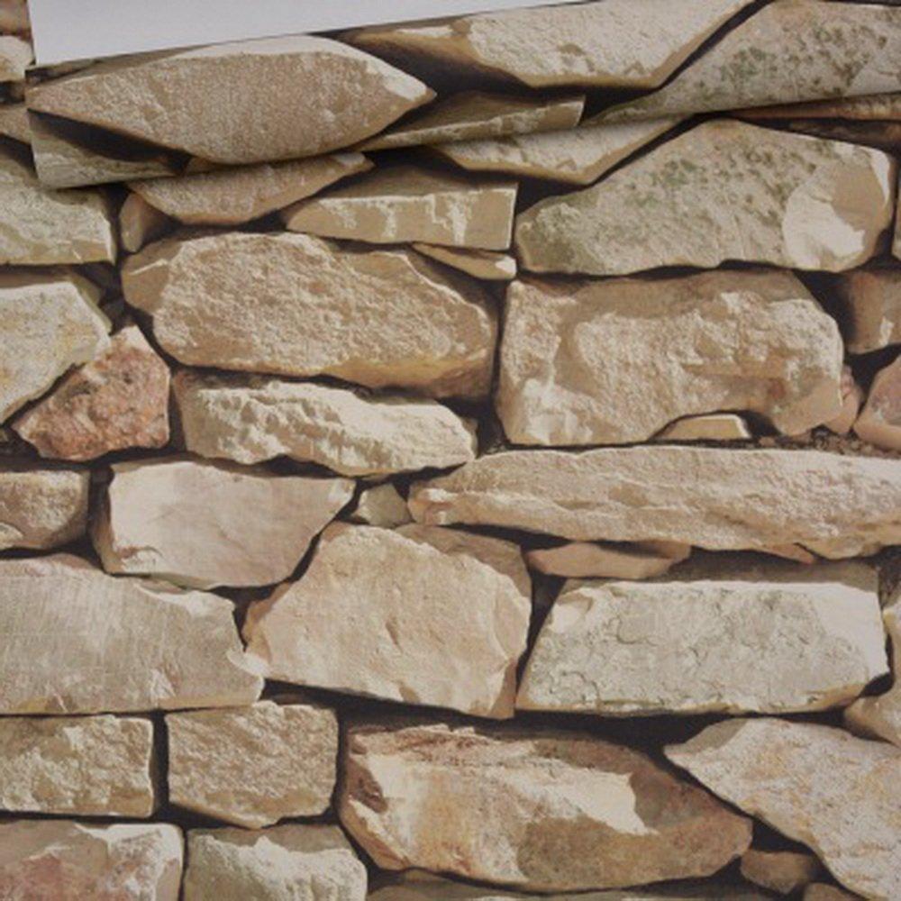 Godagoda Papier Peint pour le Mur 3D Briques R/étro Pierres Imitation PVC D/écoration Fond de Salle de S/éjour Restaurants Stickers 53x1000cm,Gris