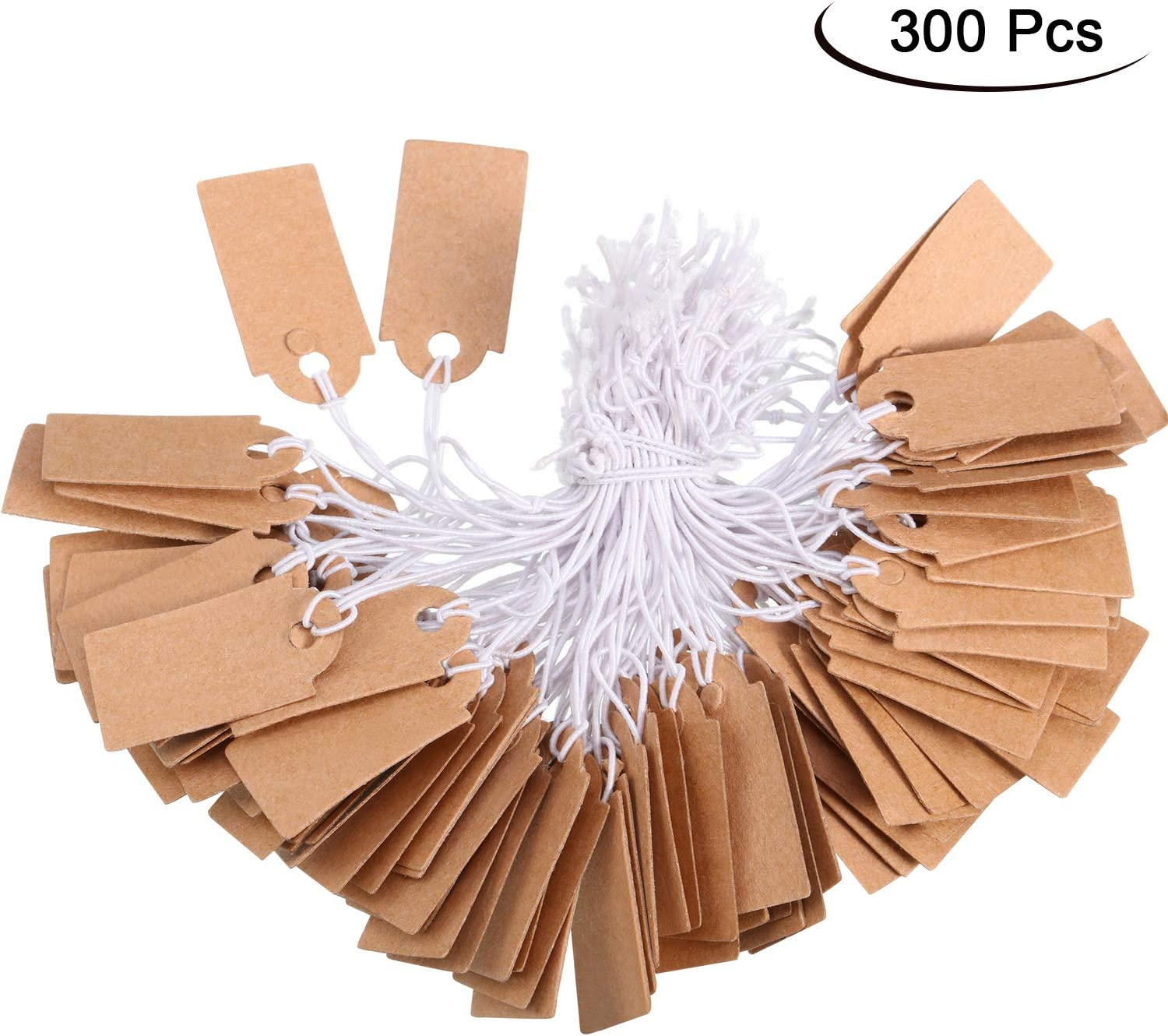 Shappy 300 Packs Price Tags Marking Labels Display Hang Tags with Elastic Str...