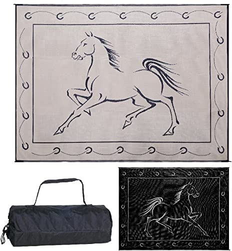 Reversible Mats 219121 Outdoor Patio RV Camping Mat – Hunter Mat Black Beige Horse Design, 9 Feet x 12 Feet