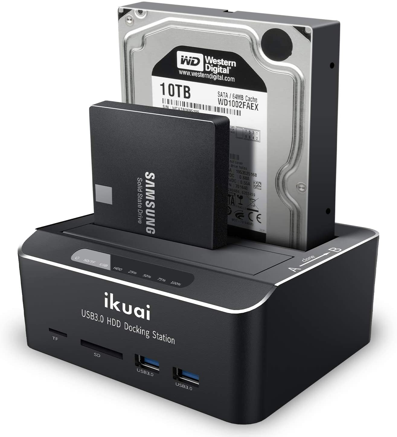 """ikuai SATA to USB 3.0 Dual Bay Hard Drive Dock for 2.5"""" and 3.5"""" SATA HDD SSD with SD TF Card Reader 2 USB 3.0 Ports and Offline Clone Function External Hard Drive Docking Station (UASP Supported)"""