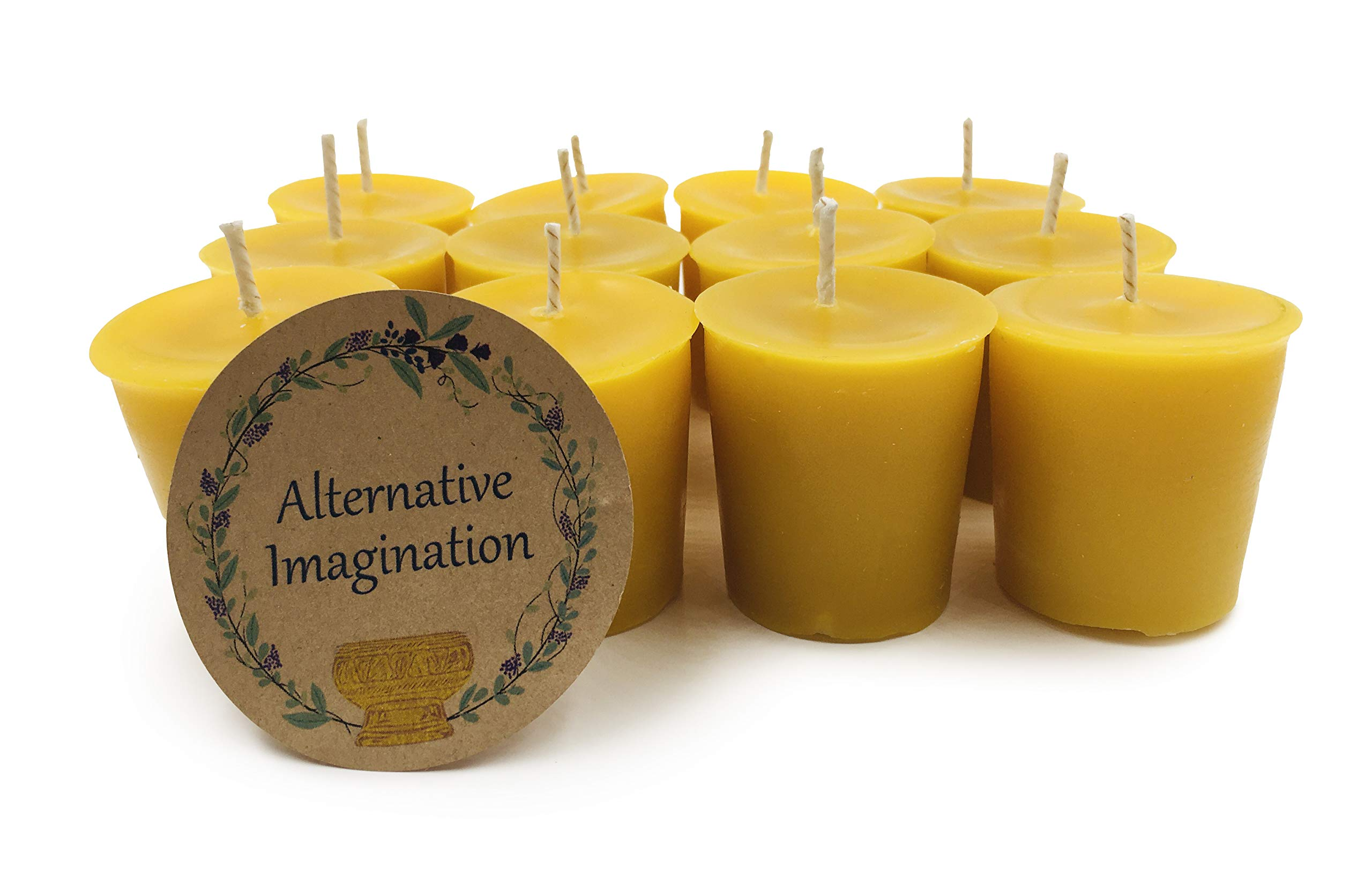 Alternative Imagination Premium 100% Pure, Natural Beeswax Votive Candles - Pack of 12 by Alternative Imagination