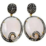 Handmade Jewelry Manufacturer 925 Sterling Silver Vermeil Oval Turquoise /& Cubic Zirconia Dangle Earring Jaipur Rajasthan India