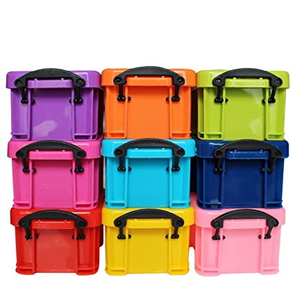 9 Pc Small Plastic Storage Box Container With Clip On Lids   Stackable Tidy  Desk Organiser