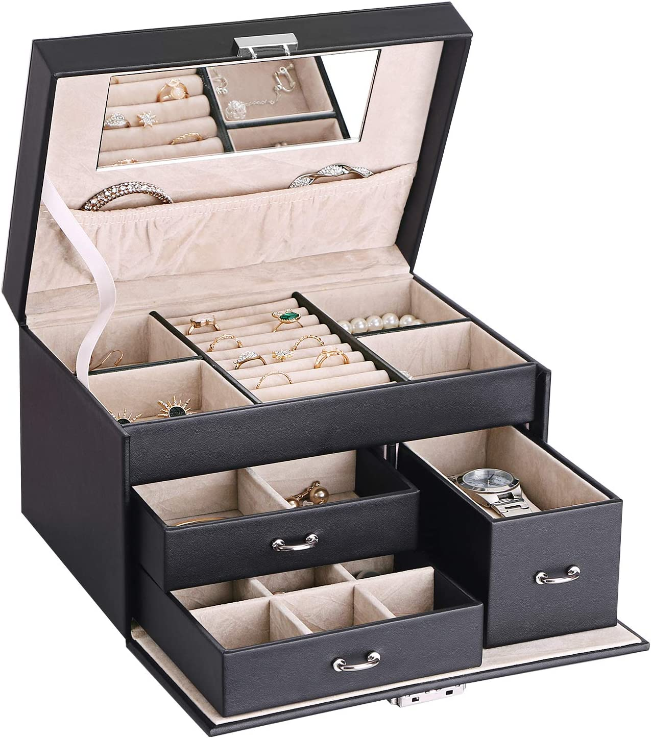 Amazon Com Bewishome 20 Section Jewelry Organizer Box With Lock Portable Jewelry Storage Case For Women Girls Earring Ring Necklace Holder Travel Case Black Faux Leather Ssh78b Home Improvement