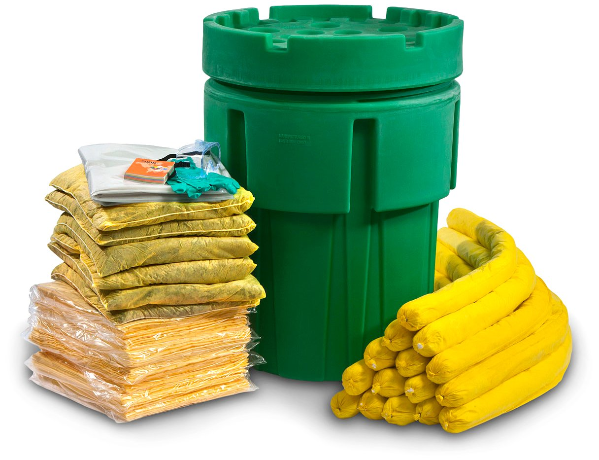 ESP SK-H65 135 Piece 65 Gallons Hazmat Absorbent Ecofriendly Spill Kit, 46 Gallons Absorbency, Yellow