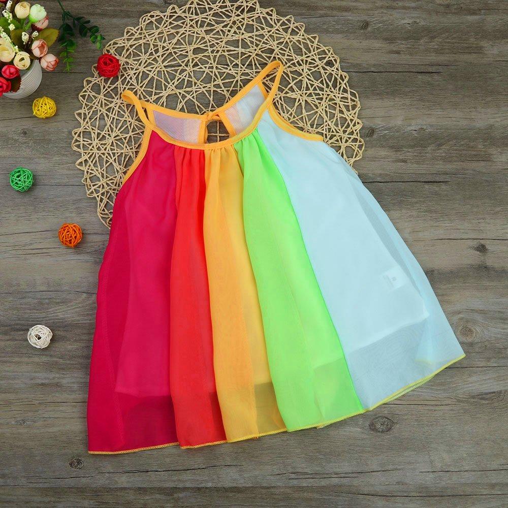 Baby Girls Summer Spaghetti Strap Beach Rainbow Dress Toddler Kids Sleeveless A-Line Chiffon Tutu Dress