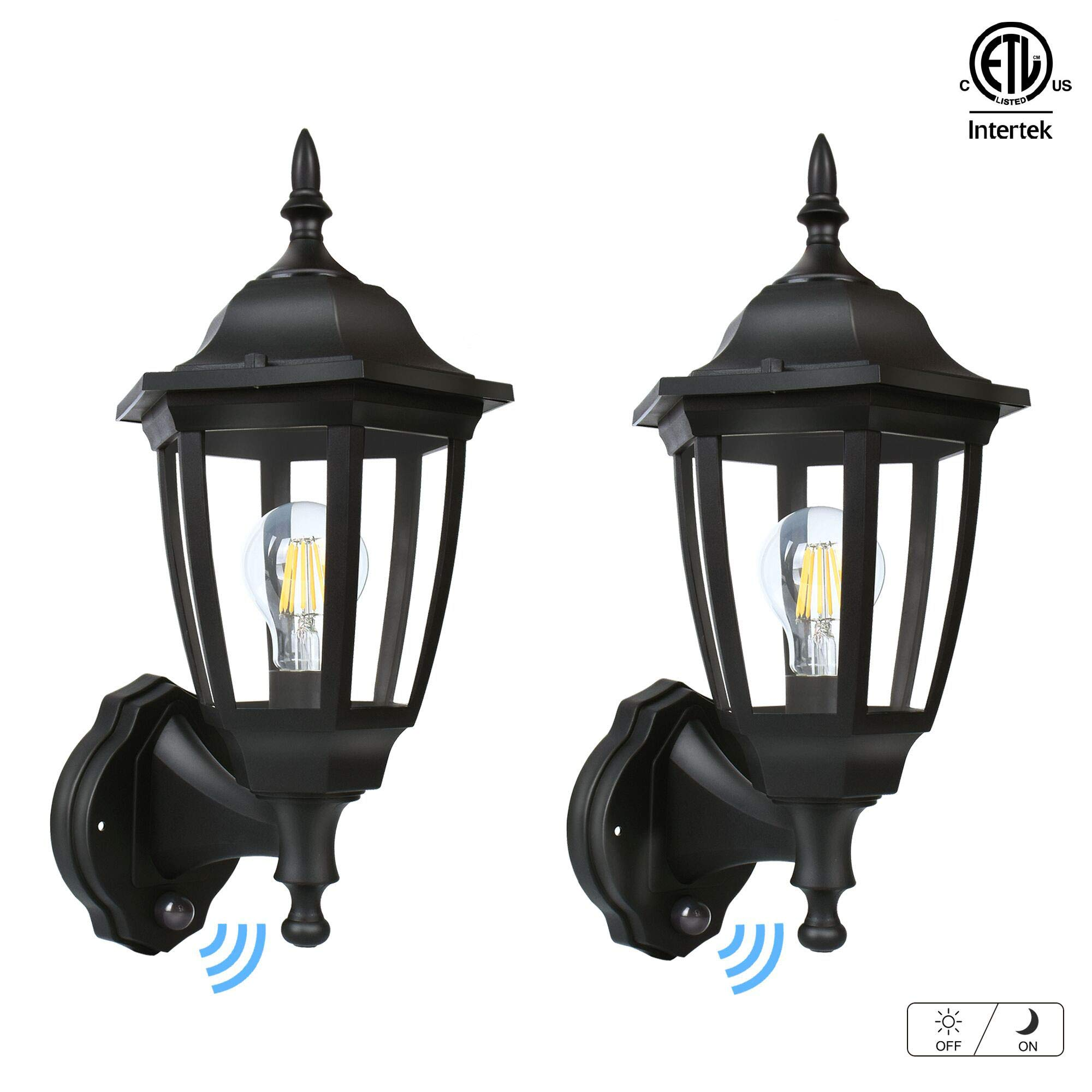 FUDESY Outdoor Dusk to Dawn LED Wall Lantern,Plastic Material Anti-Corrosion Black Porch Sensor Light with LED Edison Filament Bulb,Exterior Mount Lanterns for Porch, Garage(2-Pack),FDS2542EPSB by FUDESY