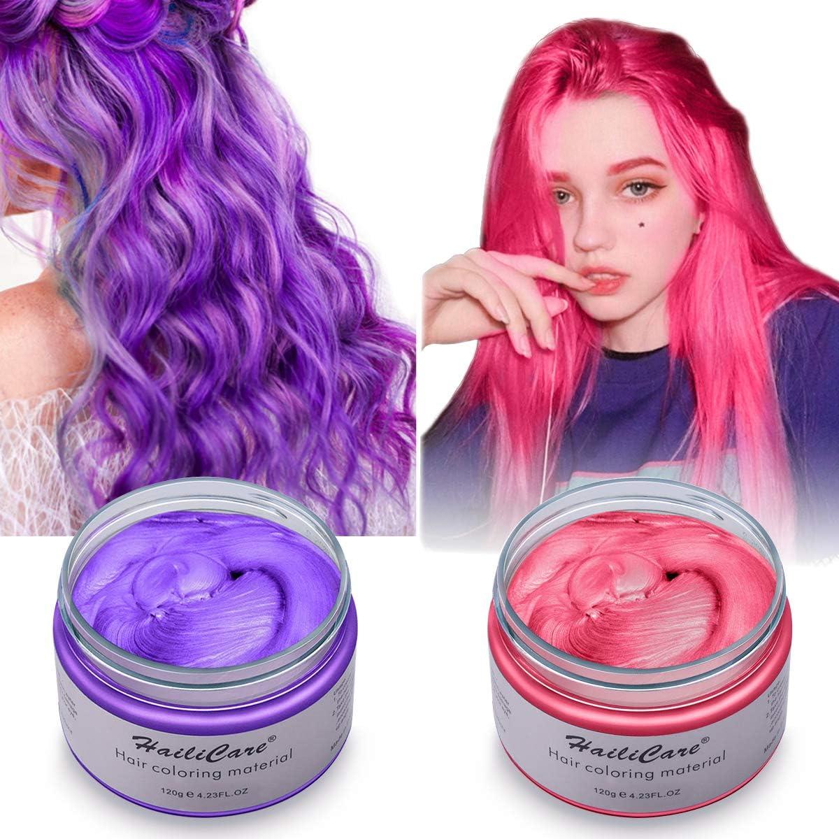 2 x 120g Cera Cabello Temporal, HailiCare Tinte de Pelo Desechable Profesional, Cera de Pelo Natural para Hombres y Mujeres, Fácil de Lavar/Usar (Rojo + Púrpura)