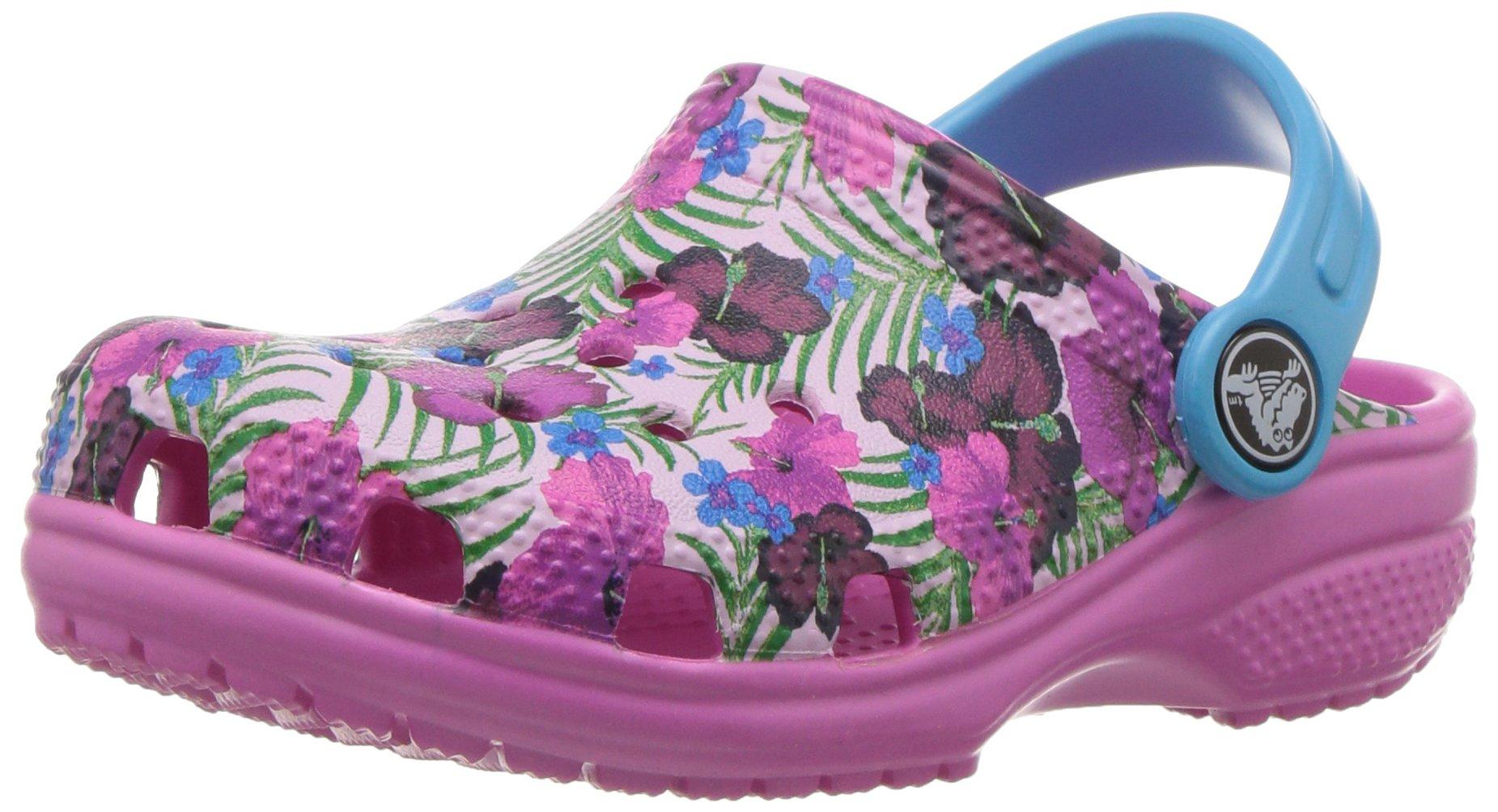 Crocs Kids' Classic Graphic K Clog,Multi Color/Pink,3 M US Little Kid