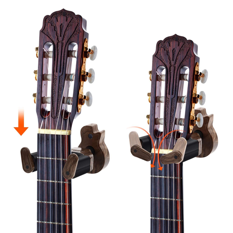 color nogal negro el/éctrica cuelgue en suspensi/ón bajo Ohuhu soporte de pared con bloqueo autom/ático para guitarra v/álido para guitarra ac/ústica