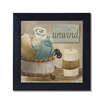 Unwind Spa Bathroom Black Framed Art Print Poster 12x12