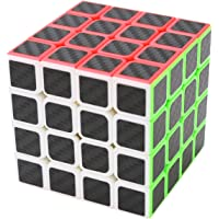 Coolzon® 4x4x4 Magic Puzzle Speed Cube Brain Teaser Twist Toy Carbon Fiber Sticker for Speedcubing, Black