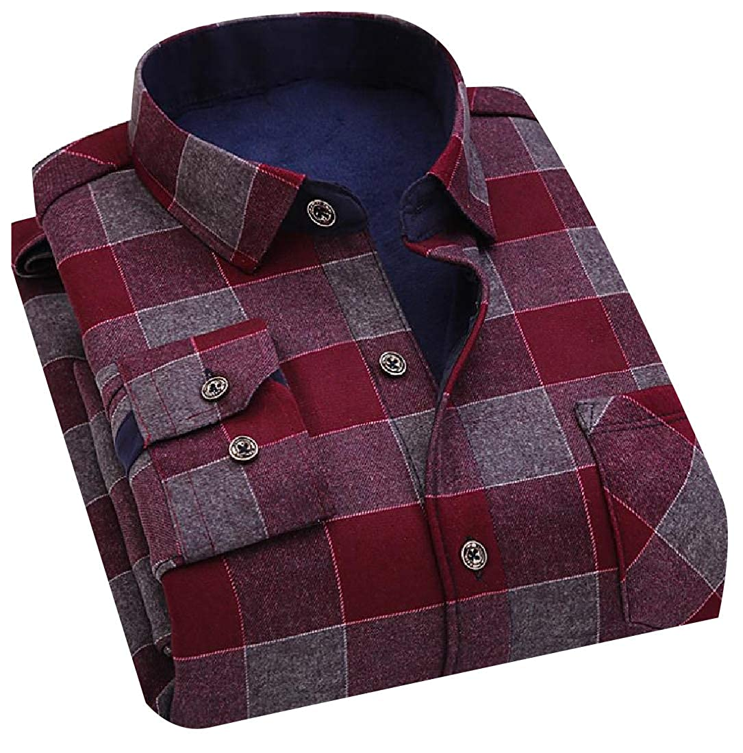 YUNY Mens Adult Relaxed-Fit Thickening Long Sleeves Woven Shirt 15 L