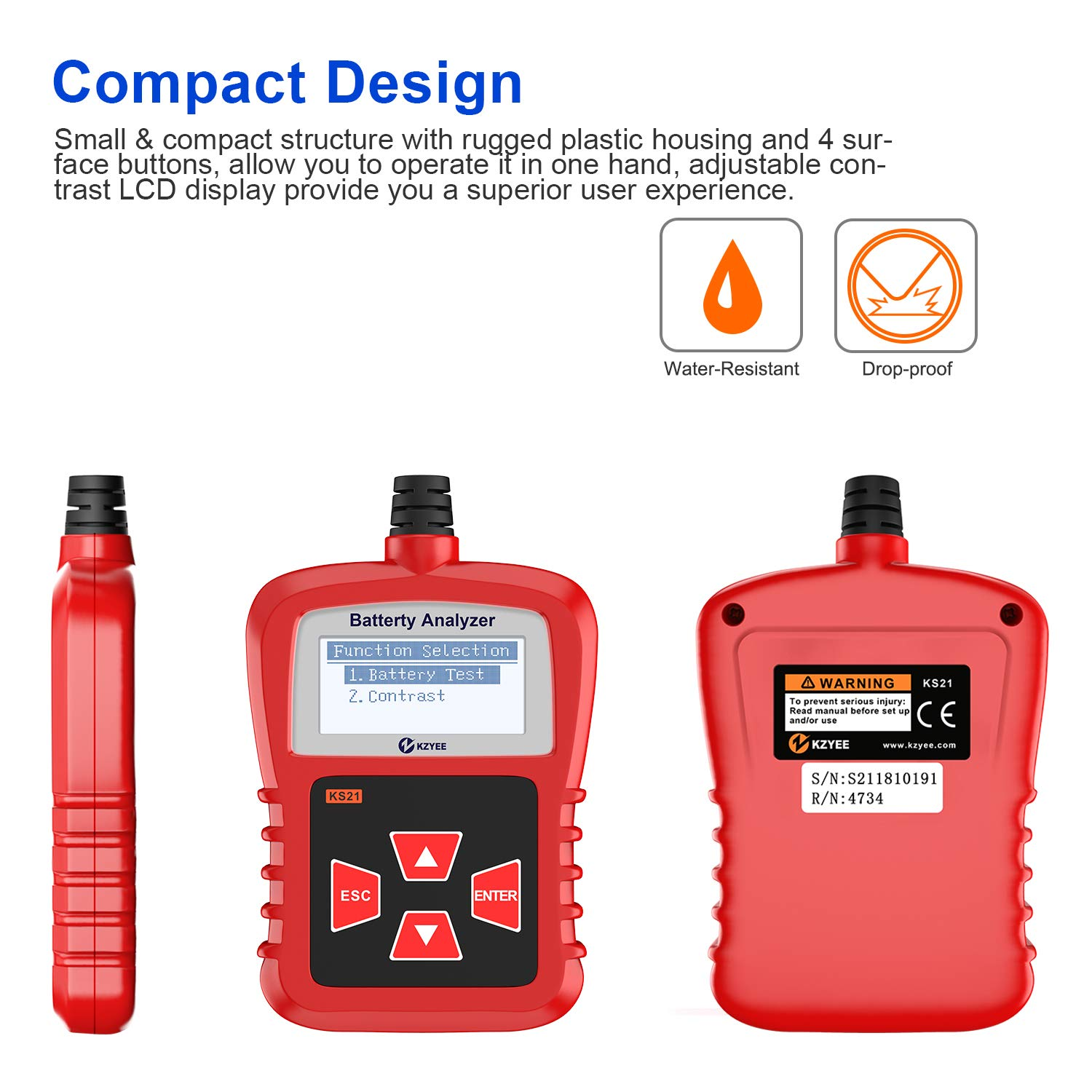 Kzyee KS21 Car Battery Tester, Automotive 100-1700 CCA 12V Battery Load Tester Cranking and Charging System Diagnostic Tool Digital Battery Analyzer by Kzyee (Image #8)