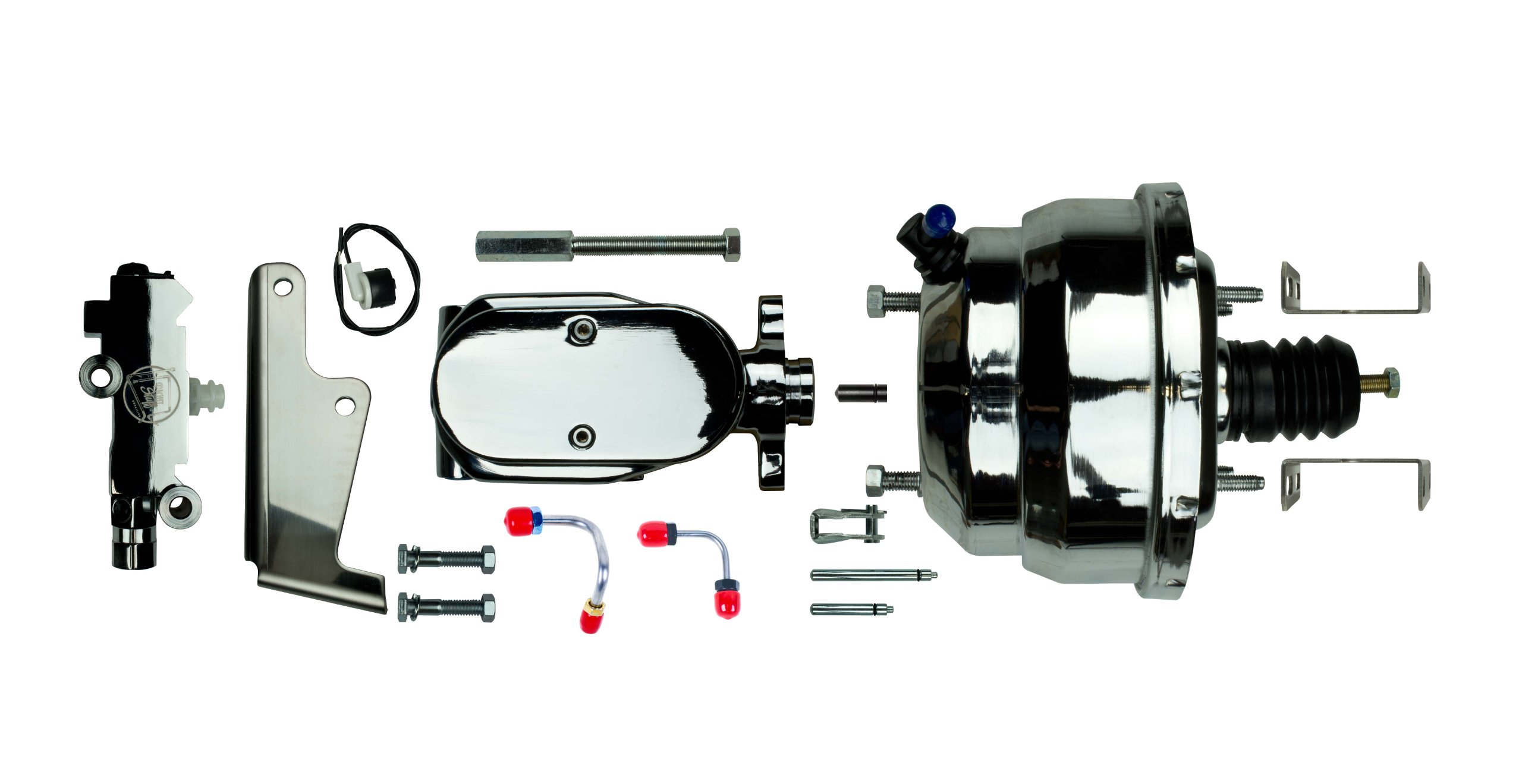The Right Stuff Detailing J84315672 Chrome Upper Assembly, Booster, Master, Valve and lines Disc/Disc Universal.  With booster mounting brackets