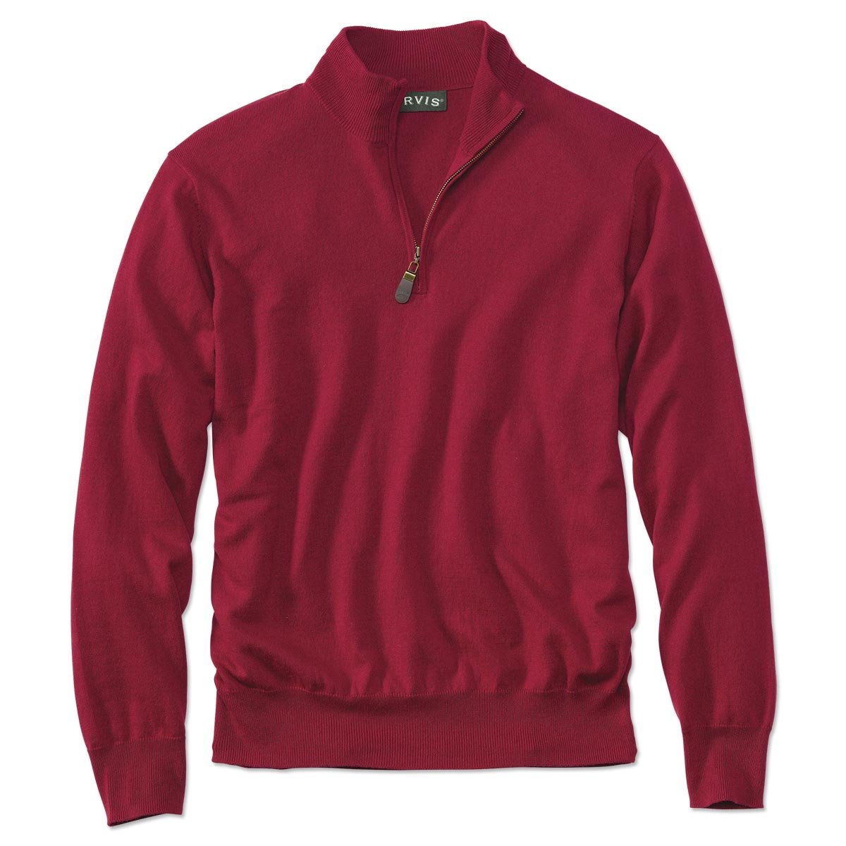 Orvis Cotton/Silk/Cashmere Zipneck Sweater, Red, Large