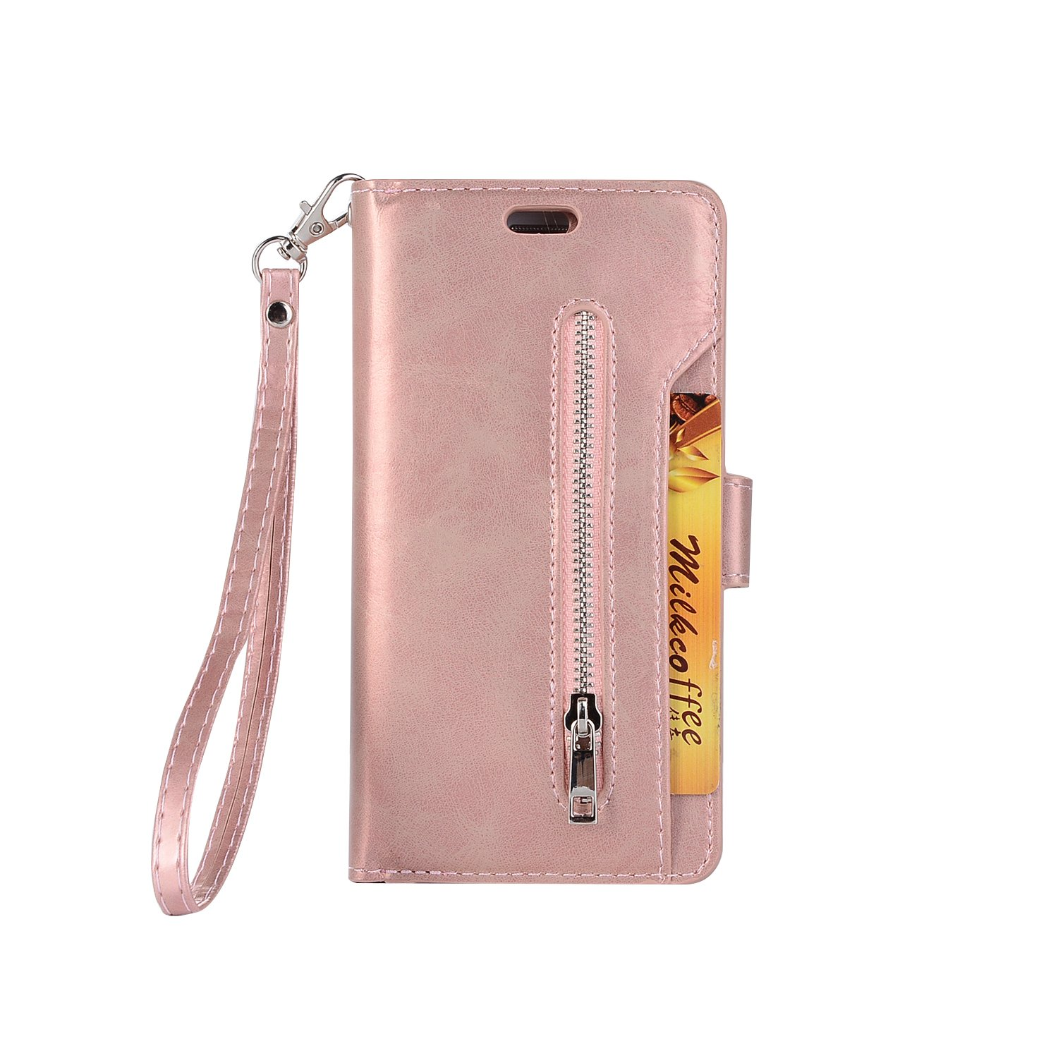 Galaxy S7 Edge Wallet Case, Leather [9 Card slots] [photo & wallet pocket] (Rose Gold)