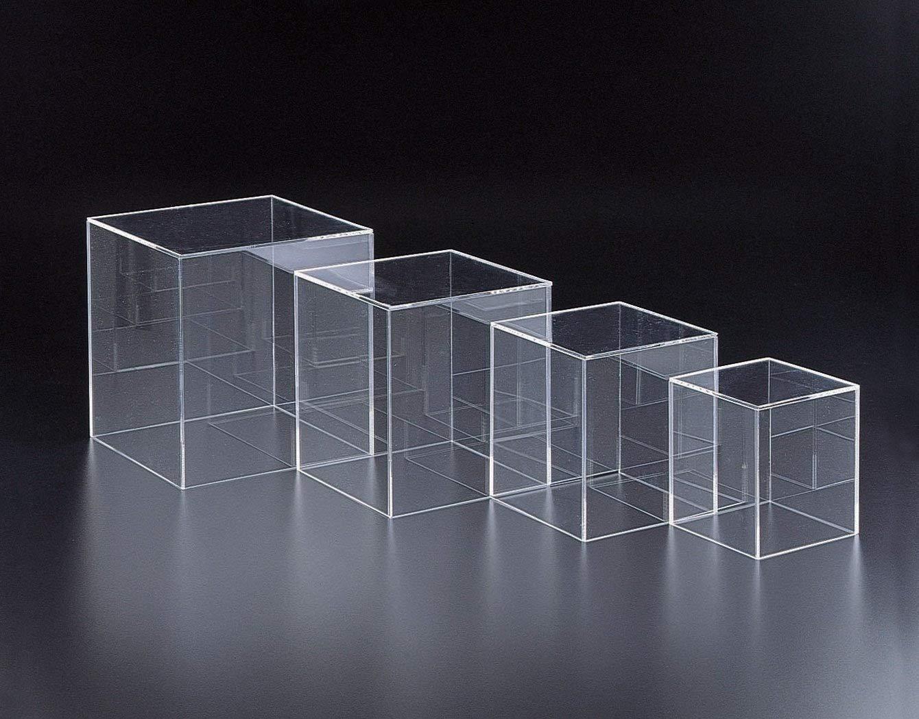 Marketing Holders Clear Acrylic 5 Sided Display Decor Riser Cube Box (1, 5''w)