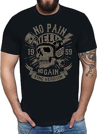 6fe408afcddef8 King Kerosin No Pain No Gain T-Shirt T-Shirt Tee Schwarz Skull Motorrad  Biker Totenkopf King Oldschool V2 Lucky Helm Oldschool Vintake Rider  Rokker: ...