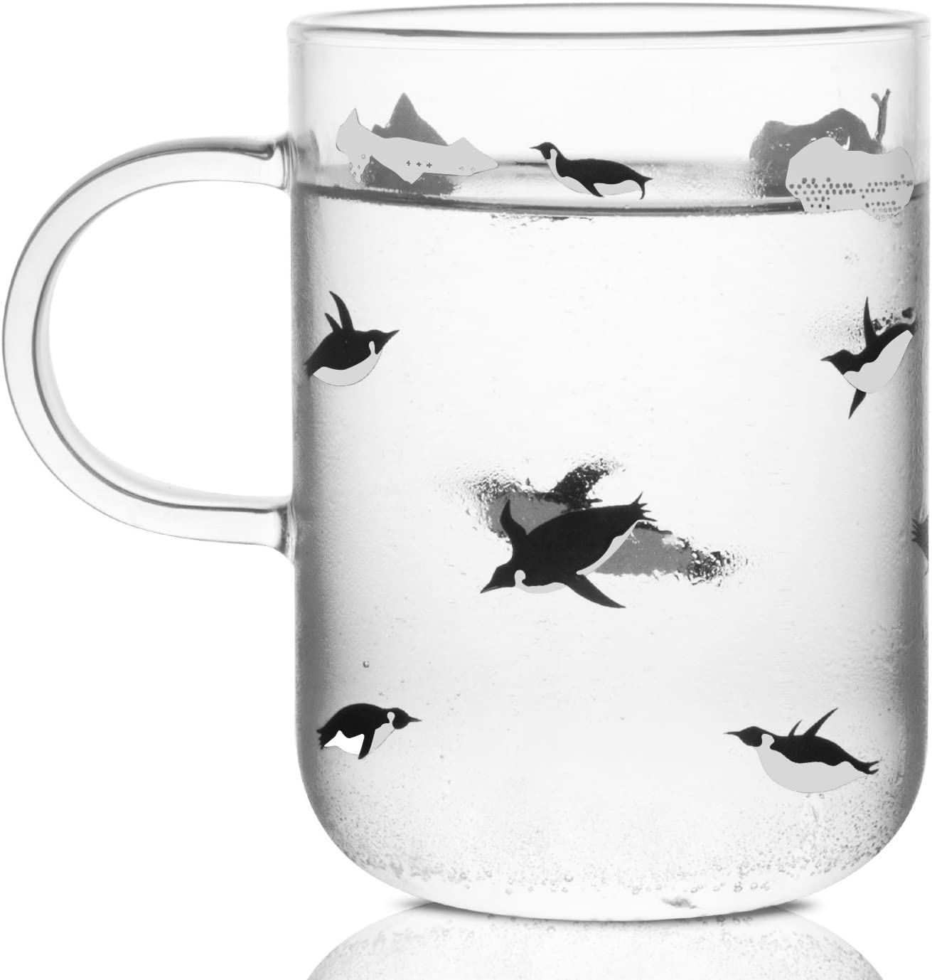 ELITEA Penguin Glass Coffee Mug with Handle Clear Cute Mugs Cup for Drinking Penguin Gift 16.3oz