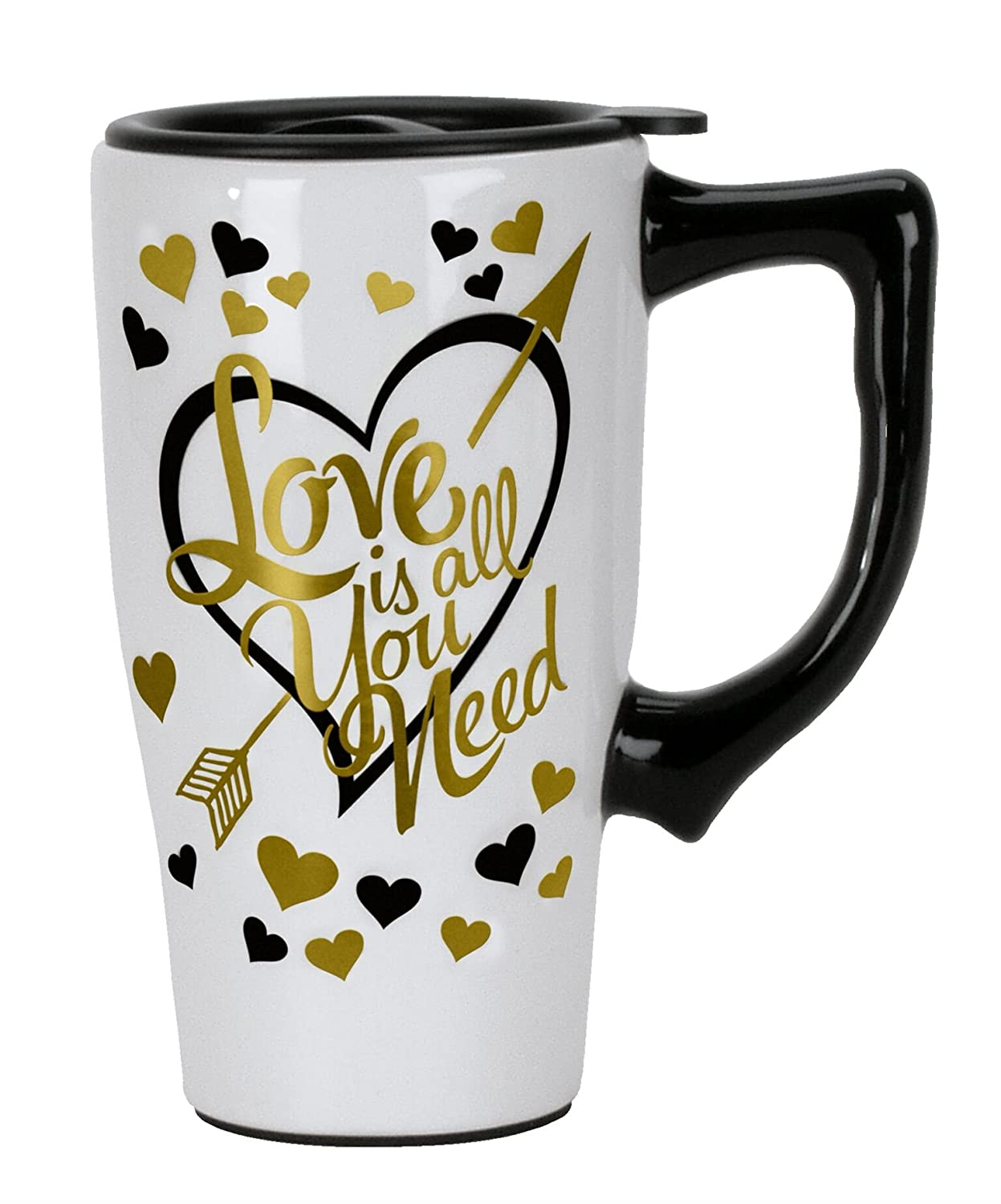 White Spoontiques 12760 Love Is All You Need Travel Mug
